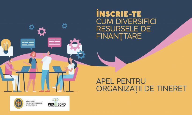 CIR PRO BONO lansează apelul de selectare a organizațiilor de tineret care doresc să își consolideze capacitățile de identificare și mobilizare a resurselor financiare